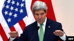 U.S. Secretary of State John Kerry talks to journalists during a joint press conference with Indonesia's foreign minister at the Foreign Ministry in Jakarta on February 17.