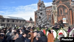 Armenia - Officials and ordinary residents of Gyumri mark the 27th anniversary of the 1988 earthquake, 7Dec2015.