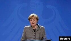 Канцлер Німеччини Анґела Меркель під час прес-конференції у Берліні. 12 січня 2016 року