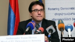 Armenia - Ambassador Traian Hristea, head of the EU Delegation to Armenia, at a news conference in Yerevan, 22Oct2012.