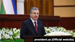Өзбекстан президенті Шавкат Мирзияев парламентте сөйлеп тұр. Ташкент, 22 қаңтар 2020 жыл.
