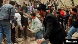 محل انفجار مرکز یهودیان آرژانتین موسوم به «آمیا»