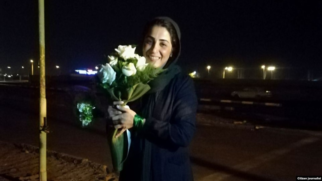 Narges Hosseini who has been sentenced to two tears in prison for removing her headscarf publicly to protest compulsory hijab.