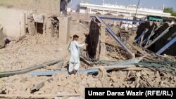Pakistan - buildings damaged by shelling and air strikes in Mir Ali, North Waziristan tribal region, 22 May 2014.