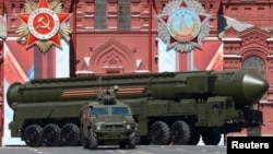 A Russian intercontinental ballistic missile system seen during a Victory Day parade in Moscow last year.