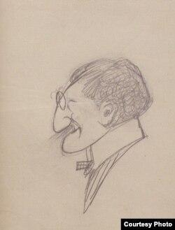 М.Добужинский. Лев Бакст. Шарж. 1906-1907.