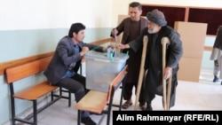 An Afghan man casting his vote in Jawzjan Province.