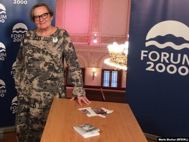 Аґнешка Холланд під час конференції «Форум-2000», Прага, 8 жовтня 2018 року