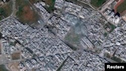 Syria -- A satellite image of the Baba Amr district of Homs, 25Feb2012