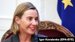 EU foreign policy chief Federica Mogherini in Bishkek on November 9