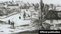 Vedere a coloniei viticole Chabag în 1850 (Desen Eugen Duffoug-Favre în vol. Jurnal de călătorie..., fig. 11)