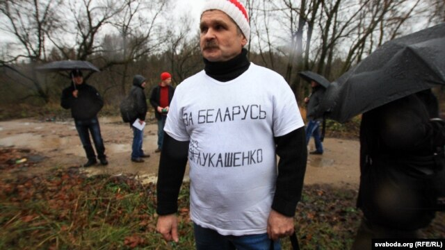 "Leanid Smouzh sports his T-shirt ""For Belarus Without Lukashenka."""