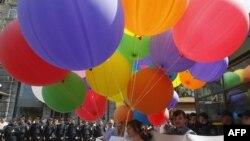 Demonstrație împotriva homofobiei, Kiev, 18 mai 2013.