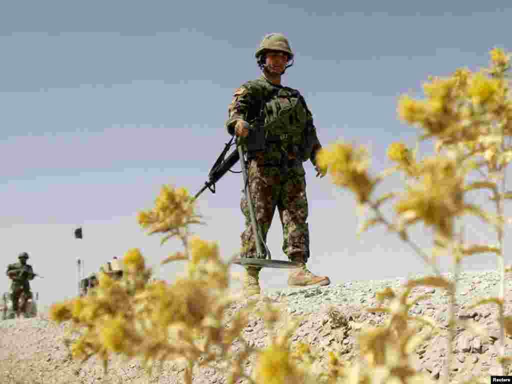 Афганістан. Вайсковец афганскай арміі шукае самаробныя выбуховыя прыстасаваньні ў правінцыі Кандагар.