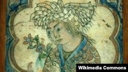 Изразец с изображением молодого человека с цветком – экспонат Лувра