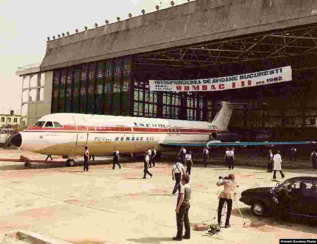 Inaugurarea avionului ROMBAC 1-11, în anul 1982.