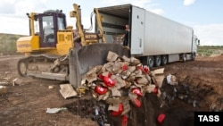 Знищення імпортного сиру на полігоні в Росії, 6 серпня 2015 року