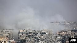 Սիրիայի կառավարական բանակը ռմբահարում է Արևելյան Գուտայի թաղամասերը, Հարաստա, 12 մարտի, 2018թ.
