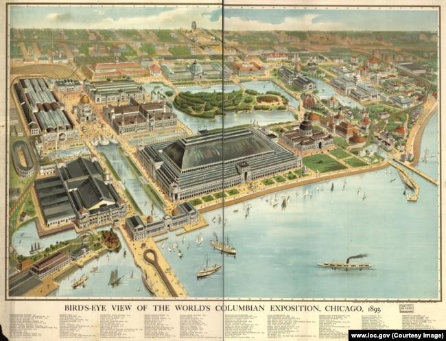 Карта выставки в Чикаго, 1893 год