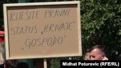 Sa jednog od protesta radnika Krivaje, juli 2010, foto: Midhat Poturović
