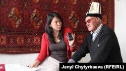 Айдараалы Сапарбаев автор менен, арткы дубалда Осмон Атабаев берген килем, Ыраң-Көл айлы, Мургаб