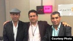 من اليمين: الصحفي والكاتب توفيق التميمي الشاعر والناقد علي حسن الفواز المخرج التلفزيوني طالب السيد