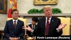 Президент Південної Кореї Мун Чже Ін і президент США Дональд Трамп під час зустрічі в Білому домі, 22 травня 2018 року