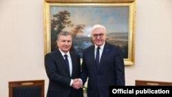 Шавкат Мирзиёев Германиянын президенти Франк-Вальтер Штайнмайер менен.