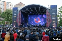 Artists perform during the opening of the Eurovision Village in central Kyiv on May 4.