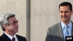 Syria -- President Bashar al-Assad meetswith his Armenian counterpart Serzh Sarkisian in Damascus, 22Mar2010