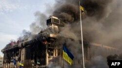 Будинок профспілок під час пожежі