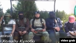 A video grab of Tajik youth purportedly fighting in Syria.