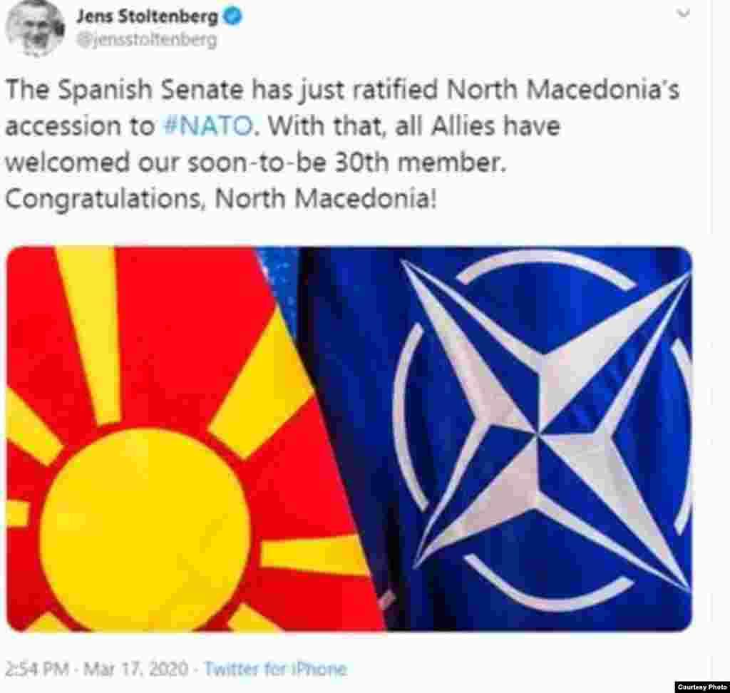 МАКЕДОНИЈА / БЕЛГИЈА - Генералниот секретар на НАТО Јенс Столтенберг ја поздрави одлуката на Шпанскиот сенат кој денеска го ратификуваше протоколот за членство во НАТО на Северна Македонија. Честито Северна Македонија, напиша Столтенберг.