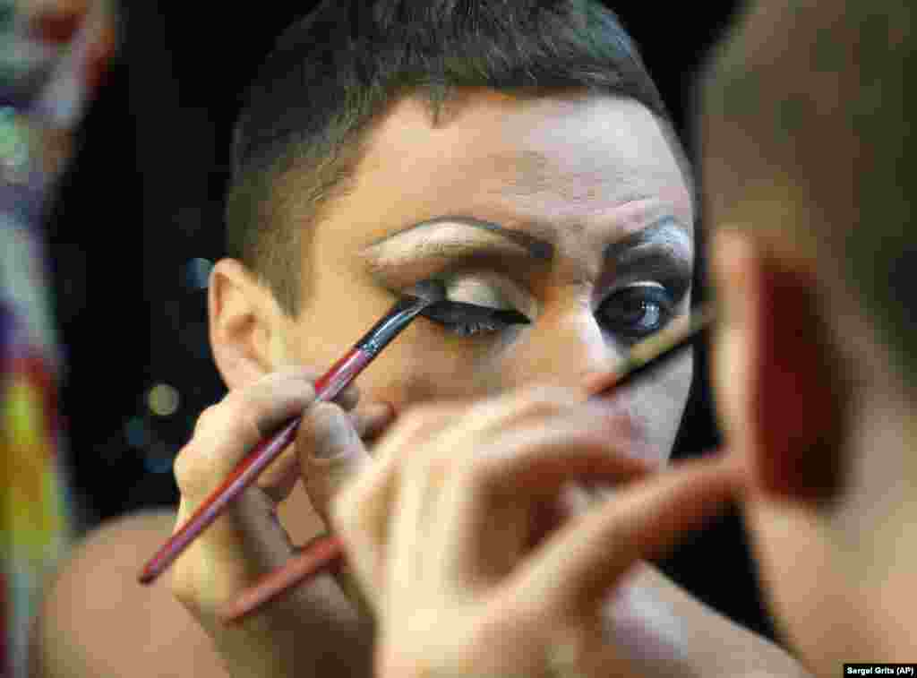 "A performer prepares for a nightly cabaret show in ""Mayak,"" one of two gay nightclubs in the Black Sea resort of Sochi, Russia."