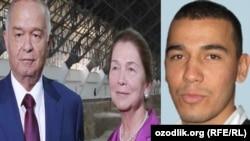 33-летний Акбарали Абдуллаев (справа) является родным племянником Татьяны Каримовой (в центре), вдовы первого президента Узбекистана Ислама Каримова (слева).