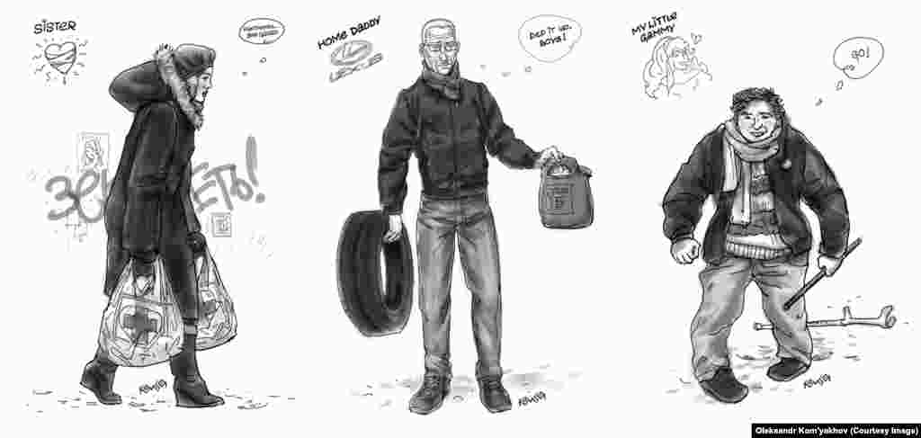 "After the government equated protesters with terrorists, the pair set out to create their own ""terrorist"" portraits. Here, a woman carries medical supplies to Independence Square; a prosperous Lexus owner contributes tires and gasoline to the barricades; and a handicapped man with no helmet or protection spends a night standing with the protesters amid violent clashes with police."