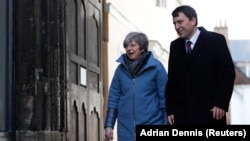 U.K. Prime Minister Theresa May visits the city of Salisbury on March 4.