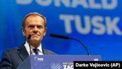 Donald Tusk speaks at the European People's Party congress in Zagreb on November 20.