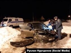 Сожженный автомобиль Руслана Нуртдинова