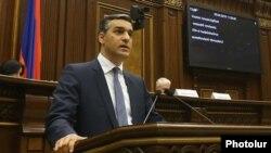 Armenia -- Human right ombudsman Arman Tatoyan speaks during parliamentary hearings in Yerevan, April 5, 2019.