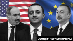 Никол Пашинян, Ираклий Гарибашвили, Ильхам Алиев (коллаж)