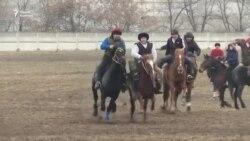 В кыргызском селе готовят польских коней к игре в аламан улак