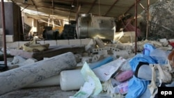 Destruction and rubble at an MSF-supported hospital in Maarat al-Numan on February 15