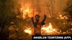 Un localnic, în timpul unei încercări de stingere a incendiilor forestiere de pe insula Evia (Euboea), a doua insulă ca mărime din Grecia, 8 august 2021.