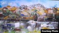 """Дело на уметникот Владимир Темков од циклусот """"Боите на водите и небото на Тиквешијата"""""""
