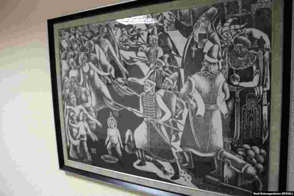 """Суретші О.Есенбаевтың """"Шоқындыру"""" картинасы. Авторы көрмеде болмаған соң картинада не бейнеленгені жөніндетарихшы Жабай Қалиевтен сұрап көрдік. «Иван Грозныйдың Қазан хандығын жаулап алғаннан кейінгі күштеп шоқындыру көрсетілген сияқты. Қазақ хандығы Ресей патшалығының бодандығын алғанда мұндай жаппай әрі күштеп шоқындыру болмады. Шоқындыру қазақ даласында ашылған мектептер арқылы жүріп жатты» дейдітарихшы Жабай Қалиев.Астана, 17 қыркүйек 2015 жыл."""