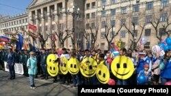 Демонстранты в Хабаровске