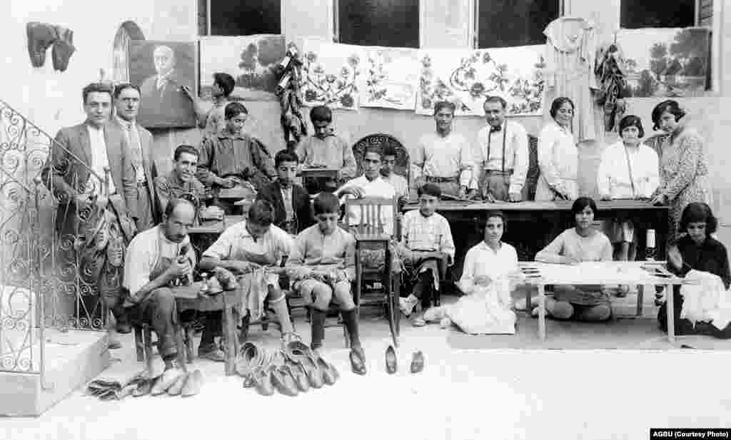Apprentice Armenian shoemakers in Aleppo's Giligian orphanage and vocational school in 1923