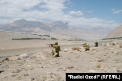 Tajik border troops train along the Afghan border.