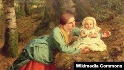 """Фрэдэрык Рычард Пікерсгіл, """"Сьцежка, засланая жарай лістотай"""" (1862)."""